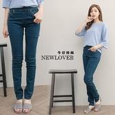 窄管褲 NEWLOVER 【166-6788】鬆緊腰水玉點點點綴丹寧窄管褲S-號