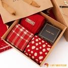 襪子純棉圣誕中筒秋冬紅色情侶牛年禮盒長襪【小獅子】