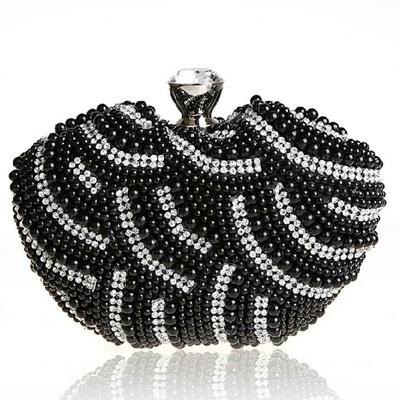 珍珠晚宴包-閃亮水鑽時尚精美女手拿鏈條包3色71as46[巴黎精品]