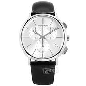CK / K8Q371C6 / 紳士簡約 三眼計時 日期 夜光 瑞士製造 皮革手錶 銀框x黑 42mm