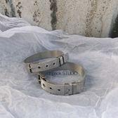 Unpack簡約手錬歐美港風復古男女網狀銀色不銹鋼手環男女同款 英雄聯盟