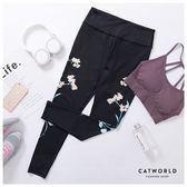 Catworld 文藝風花草彈力瑜珈運動褲【12001891】‧S/M/L