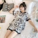 家居服 冰絲睡衣女夏薄款短袖韓版可愛學生絲綢兩件套裝夏天家居服可外穿 寶貝計書