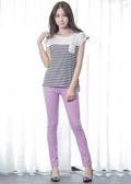 Victoria 中腰剪接後染窄管色褲-女-淺紫-VW221861(領劵再折)