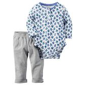 Carter's平行輸入童裝 女寶寶 嬰兒套裝 長袖半開前扣包屁衣&褲子 健康【CA121G805】