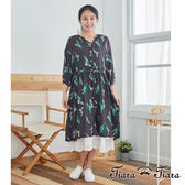 【Tiara Tiara】百貨同步 自然風鈴蘭花7分袖洋裝(卡其/黑)