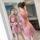 蕾絲連衣裙2021春季新款a字裙收腰顯瘦氣質復古森繫法式碎花裙子 快速出貨