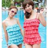 抓皺層層蛋糕裙兩件式溫泉泳衣