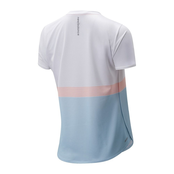 New Balance Printed Accelerate 女裝 短袖 休閒 DRY 輕量 反光細節 白 藍【運動世界】AWT11221WT