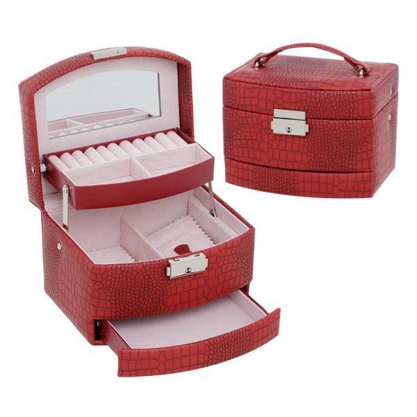 【狐狸跑跑】三層多容量收納首飾盒 化妝箱  鱷魚紋皮革首飾盒 飾品收納盒 sp01119