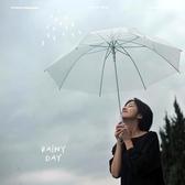 復古簡約情侶黑白色透明雨傘男女士成人小清新長柄傘【全館免運】