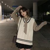 襯衫 2019新款ins韓版春季條紋針織馬甲襯衫送領帶兩件套裝女 曼慕衣櫃