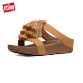 單一價!【FitFlop】FINO TASSEL DENIM H-SLIDES H型設計流蘇涼鞋-女(藤黃色)