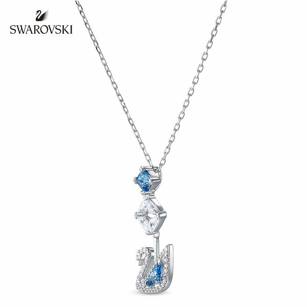 施華洛世奇 Dancing Swan 白金色舞動天鵝藍水晶垂墜項鏈