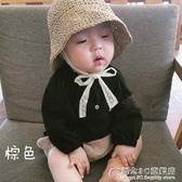 爆款夏款兒童草帽韓國寶寶0-2歲遮陽防曬帽蕾絲系帶帽子親子【概念3C旗艦店】
