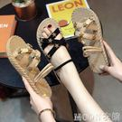 兩穿涼鞋夏季學生拖鞋仙女風平底晚晚鞋加大碼41 42 43特大碼女鞋 moon衣櫥