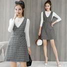 VK精品服飾 韓系背帶格子時尚高腰短包臀裙套裝長袖裙裝