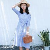 連身裙-一字領中長款時尚條紋優雅女連衣裙2款73rx3【巴黎精品】