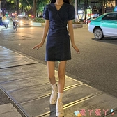 牛仔洋裝2021新款夏季復古V領短袖法式連身裙女裝裙子顯瘦氣質收腰牛仔裙 愛丫 新品