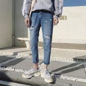男牛仔褲窄管褲九分褲男簡約時尚潮流百搭韓版褲子《印象精品》t730