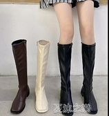 長筒靴女 騎士靴新款筒靴側拉鏈高筒顯瘦長筒靴女不過膝長靴女 快速出貨