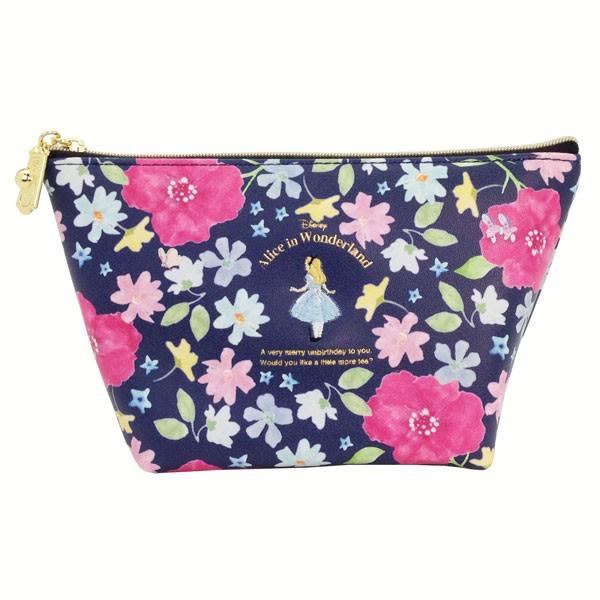 Hamee 日本正版 迪士尼 秘密花園 皮革 化妝包 相機包 隨身包 萬用收納包 愛麗絲 (藍) FT45286