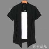 夏季男裝假兩件短袖t恤潮流韓版個性開衫外套薄款拼色半袖上衣服 可然精品
