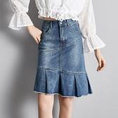 牛仔裙 牛仔半身裙女彈力魚尾裙 秋冬2020中裙包臀修身顯瘦荷葉毛邊 店慶降價