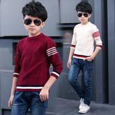 男童毛衣男童好康推薦新品加厚毛衣白色中大童圓領套頭針織打底衫
