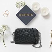 《高仕皮包》【免運費】BERNIS三層式斜背包-小羊皮菱格紋系列BNA18041BK