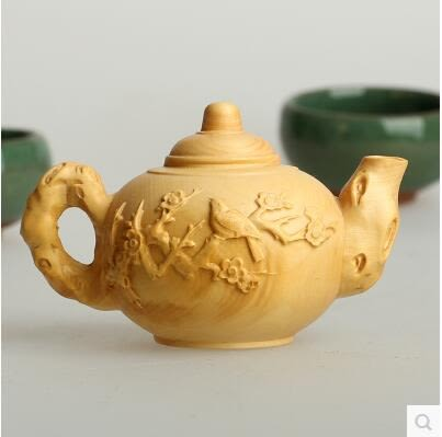 黃楊木雕梅花茶壺擺件木頭雕刻手把件工藝品原木把玩雕花收藏品