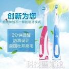 電動牙刷 成人自動旋轉式干電池款防水軟毛家用情侶亮白動粉色電動牙刷 交換禮物