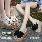 PAPORA大蝴蝶結厚底楔型拖鞋涼鞋KK4268黑/米