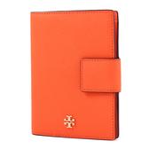 美國正品 TORY BURCH 金屬LOGO防刮皮革釦式護照夾-橘色【現貨】