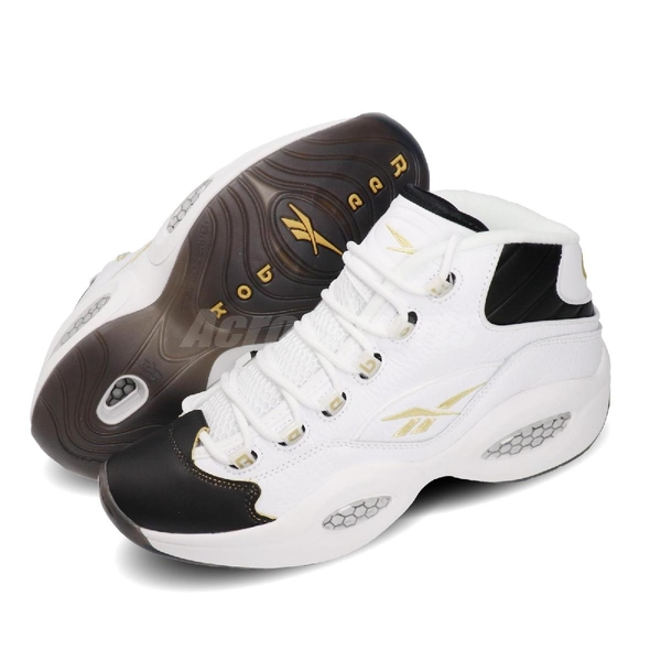 Reebok 籃球鞋 Question Mid 白 黑 金 刮刮樂 男鞋 果洞底 運動鞋 復古 休閒鞋 【PUMP306】 EF7599