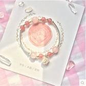 草莓晶 手鍊女S925銀墜韓版簡約甜美天然