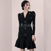 禮服不支持退換 法式赫本小黑裙性感洋裝2020新款初秋氣質釘珠禮服裙子女神范夏 滿天星