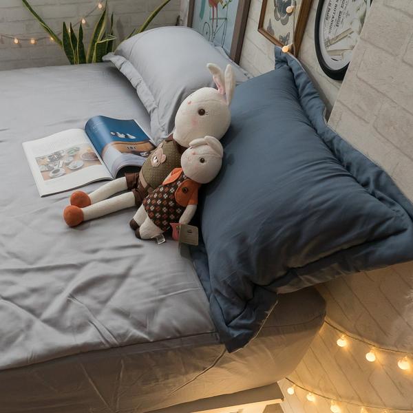 天絲床組 極簡莫藍灰 DPM4雙人鋪棉床包鋪棉兩用被四件組(60支) 100%天絲 棉床本舖