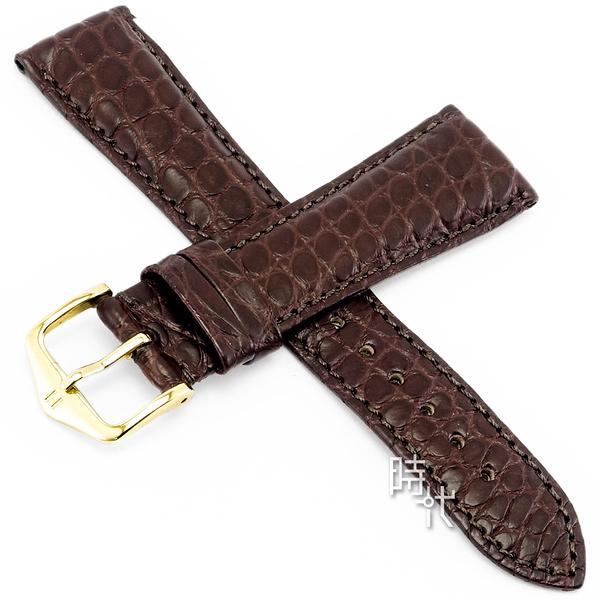 【台南 時代鐘錶 海奕施 HIRSCH】鱷魚皮錶帶 Regent M  深棕色 附工具 04107119 經典 鱷魚皮