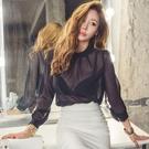 歐媛韓版 性感雪紡衫上衣秋季新款立領長袖寬鬆氣質套頭薄款韓國襯衫 女小衫
