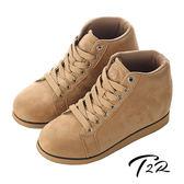 【韓國T2R】率性時尚內增高短筒靴 ↑8cm 卡其(5600-0038)