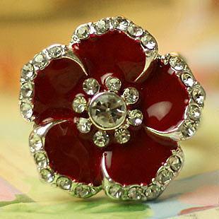 時尚首飾品 超大誇張可愛鑲鑽花朵彈性戒指 女潮人食指環
