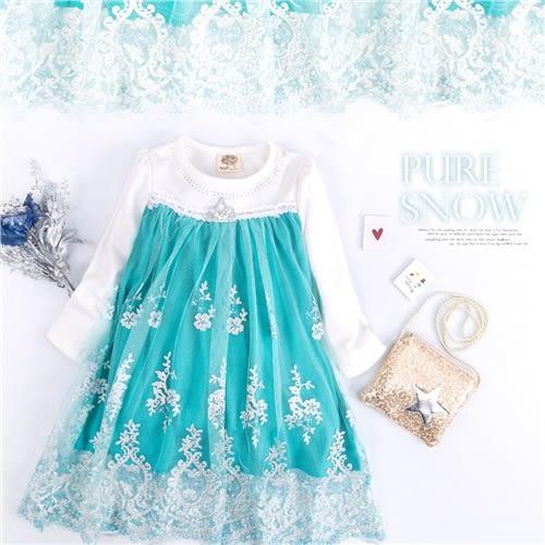 冰雪公主~鑽領珍珠皇冠雪紡層紗洋裝(240303)★水娃娃時尚童裝★