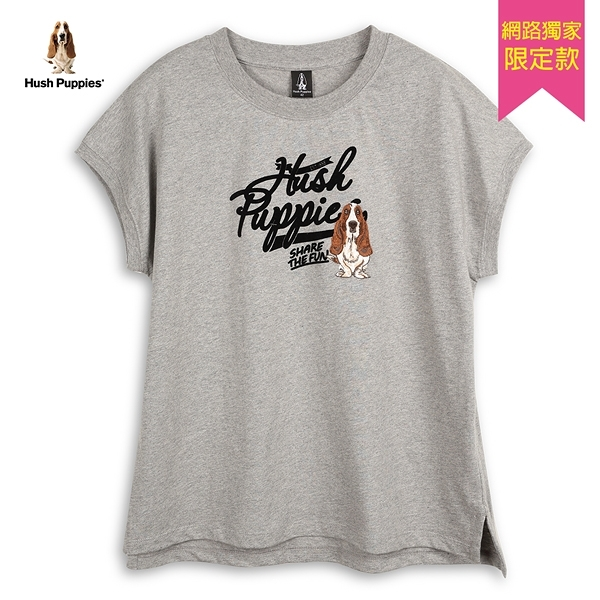 Hush Puppies T恤 女裝植絨英文字印花連袖T恤