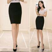 職業短裙後開叉包臀裙半身裙女高腰彈力工裝OL一步裙黑色包裙 全館免運
