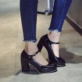 黑色/40號 秋季粗跟高跟鞋 圓頭一字扣瑪麗珍鞋