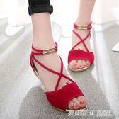 羅馬涼鞋女夏季新時尚後拉鏈魚嘴涼鞋後包跟絨面增高坡跟涼鞋  英賽爾3c