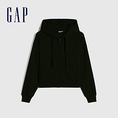 Gap女裝 時尚刷毛休閒連帽休閒上衣 766815-黑色