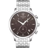 TISSOT 天梭 Tradition 復刻計時鋼帶手錶-灰 T0636171106700