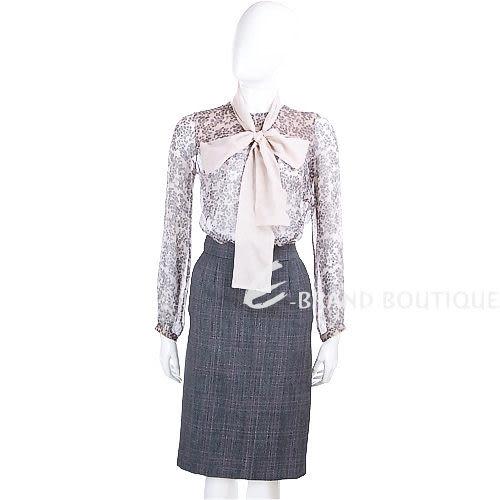 VALENTINO 格紋毛料及膝裙(灰/粉色) 0840203-22